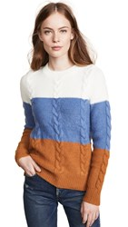 Endless Rose Cable Knit Striped Sweater Multi
