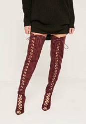 Missguided Burgundy Lace Up Thigh High Gladiator Boots Berry