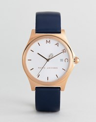 Marc Jacobs Mj1609 Henry Leather Watch In Navy 36Mm
