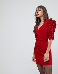 Mango Red Ruffle Sleeve Dress Red