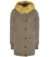 Kenzo Parka Coat With Fur Trimmed Hood Green