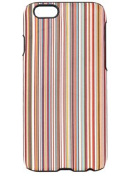Paul Smith Striped Iphone 6 Case Men Calf Leather Polycarbonite One Size