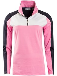 Green Lamb Lucinda Half Zip Colour Block Top Pink