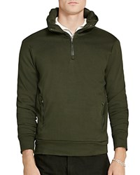 Polo Ralph Lauren Leather Trimmed Half Zip Hoodie Squadron Green