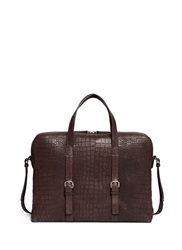 Giorgio Armani Croc Embossed Leather Briefcase Brown Animal Print