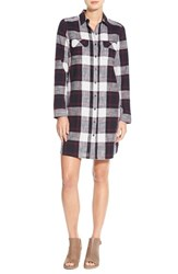 Caslonr Petite Women's Caslon Plaid Cotton Two Pocket Shirtdress Purple Plaid