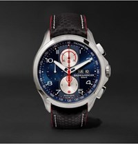 Baume And Mercier Clifton Club Shelby Cobra Chronograph 44Mm Stainless Steel Leather Watch Blue