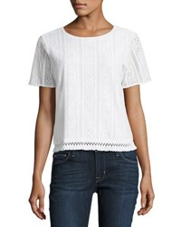 Michael Michael Kors Fringed Hem Short Sleeve Crochet Tee White