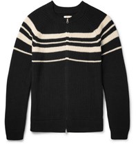 Gant Rugger Triped Ribbed Cotton Zip Up Cardigan Black