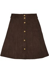 Frame Denim Le Paneled Suede Mini Skirt Brown