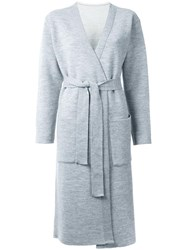 En Route Belted Long Knitted Coat Grey