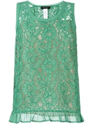 Twin Set Floral Lace Tank Top Green
