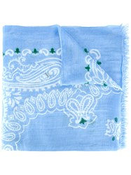 Dondup Abstract Print Scarf Blue