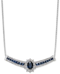 Macy's Sapphire 3 1 10 Ct. T.W. And Diamond 3 4 Ct. T.W. Necklace In 14K White Gold Blue