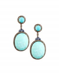 Bavna Turquoise Sapphire And Champagne Diamond Drop Earrings