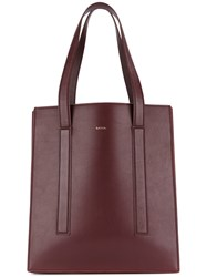 Paul Smith Logo Tote Bag Calf Leather Pink Purple