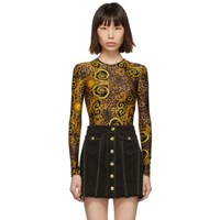 Versace Jeans Couture Brown And Yellow Leopard Baroque Bodysuit