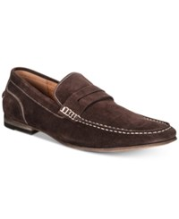 Kenneth Cole Reaction Crespo Suede Penny Loafers Shoes Dark Brown