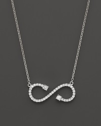 Bloomingdale's Diamond Open Infinity Pendant In 14K White Gold .20 Ct. T.W. White Gold White Diamonds