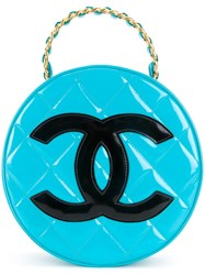 Chanel Vintage Quilted Round Vanity Case Blue