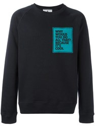 Andrea Pompilio Patch Crew Neck Sweatshirt Blue