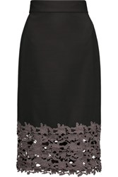 Raoul Clementine Lace Paneled Cotton Blend Skirt Black