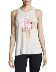 Betsey Johnson Floral Burnout Tank Top Grey
