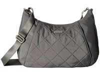 Baggallini Quilted Slim Crossbody Hobo With Rfid Pewter Quilt Cross Body Handbags Gray
