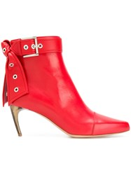 Alexander Mcqueen Buckle Ankle Boots Calf Leather Leather Red