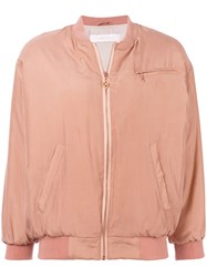 See By Chloe Sateen Finish Bomber Jacket Pink And Purple