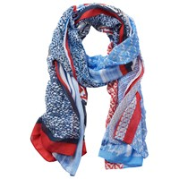 Betty Barclay Multi Print Scarf Blue Red