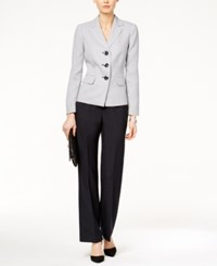 Le Suit Three Button Tweed Colorblocked Pantsuit Navy White