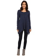 Allen Allen L S Angled 2 Pocket Scoop Tunic Lapis Long Sleeve Pullover Navy