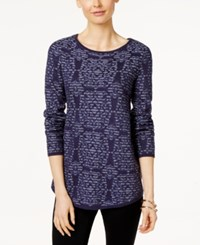 Charter Club Damask Print Jacquard Sweater Only At Macy's Denim Blue