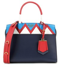 Prada Esplanade Zigzag Leather Tote Blue
