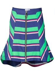 Tanya Taylor Striped High Waisted Skirt Green