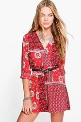 Boohoo Boho Playsuit Wrap Front Playsuit Red