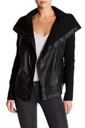 Blanknyc Denim Vegan Leather Drape Front Jacket Multi