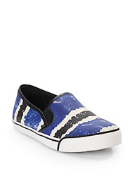 Alice Olivia Piper Embossed Leather Striped Sneakers Blue Multi