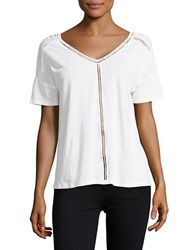 Lord And Taylor Double V Neck Linen Tee White