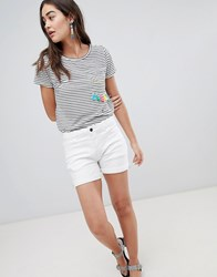Brooklyn Supply Co. Co Denim Shorts With Turn Up And Stripe Tape White