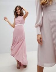 Tfnc Wedding Bow Back Maxi Dress With High Low Hem Vintage Rose Pink
