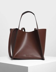 Charles And Keith Tailored Oversized Tote Bag Brown