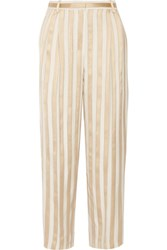 The Row Striped Jacquard Straight Leg Pants Gold