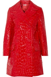 Miu Miu Double Breasted Croc Effect Faux Patent Leather Coat