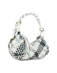 Fontanelli Blue And White Woven Leather East West Hobo Bag