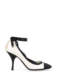 Chanel Vintage 2010'S Lace Up Contrasting Pumps White