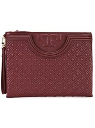 Tory Burch Embossed Clutch Red