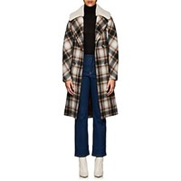 Martin Grant Shearling Collar Wool Felt Coat Brown