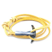 Anchor And Crew Bruce Leather And Silver Bracelet Yellow